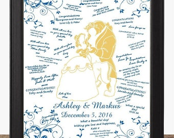 Blue and Gold Beauty And The Beast Wedding Guest Book Alternative - Rustic Wedding Sign - Wedding Sign - Ready to Hang -lovebirdslane