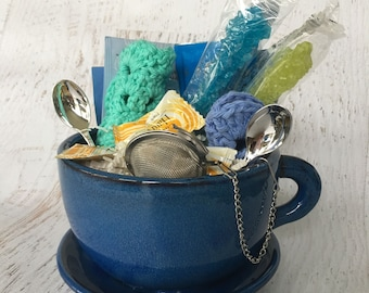 Ceramic Tea for Two Gift Set, handmade, includes 2 mug rugs, candy, 2 swizzels, 4 tea bag (different varieties), tea infuser and 2 teaspoons