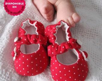 Mary Jane baby fabric Shoes, PDF Sewing Pattern, 7 sizes, Kids sewing Pattern / Patron de soulier, Modèle de couture soulier Enfant