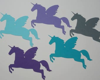 Unicorn with Wings Paper Cut, Unicorn Die Cut in Purple, Teal and Gray