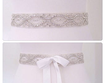 All around wedding dress belt,beaded bridal sash, beaded wedding belt
