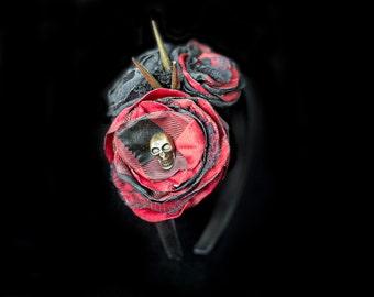 Steampunk Goth Skull Headband Red and Black Plaid Punk Skull Headband Rock and Roll Spiked Headband Skull Flower Headband Spiked Skull