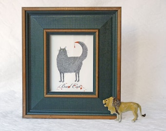 Bad Cat framed Giclee print, Susan Sanford Art