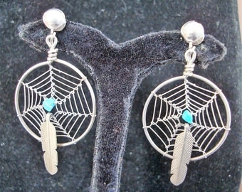 DREAM CATCHER  EARRINGS  drop 2 inch from clip on catches. design is 1 inch round not including feather drops see description & photos