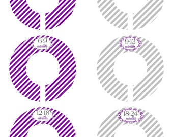 6 Baby Closet Dividers, Kids Closets, Infant Closet Dividers, Baby Closet Organizers,  Purple and Grey Clothing Dividers #301C