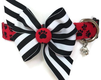 Max's Paws Red Black White Dog Collar size Large
