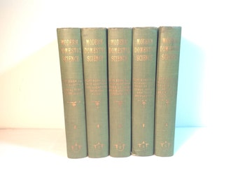 Modern Domestic Science 1909 Set of Books Vol.1-5 Cookbooks Excellent Condition