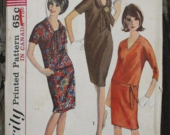 60off Sale Simplicity 6080 1960s 60s Sheath Mod Dress Vintage Sewing Pattern Size 16 Bust 36