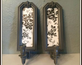 Upcycled Vintage Homco Candle Wall Sconces ~ Gray ~ Black ~ White ~ Painted Candle Sconces ~ Gray Home Decor ~ Living Room ~ Dining Room