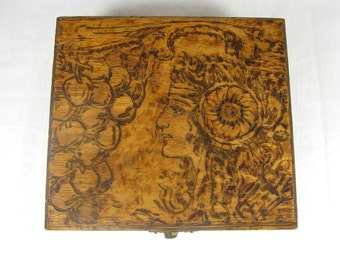 Antique Flemish Art Pyrography Wooden Box Woman by Grape Vines Jewelry Stash Gift Art Nouveau