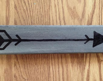 "Black Arrow on Gray Reclaimed Wood 10.25"" x 2.25"" 