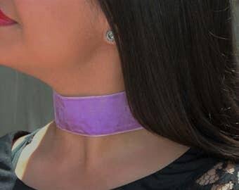 Lilac Velvet Thick Choker Necklace Handmade