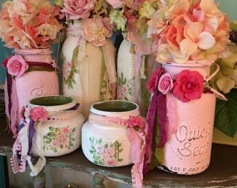 6 Painted Antique Shabby canning jars, Nursery, shabby chic, Wedding event vase, decor