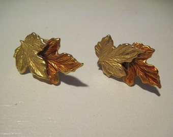 Vintage Designer Signed ANNE KLEIN Autumn Leaf Clip On Non Pierced Earrings Two Tone