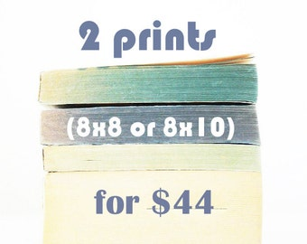 Prints ON SALE - 2 prints (8x8 or 8x10), vintage book stacks, old books photo, cool wall art design, contemporary, minimalist modern art