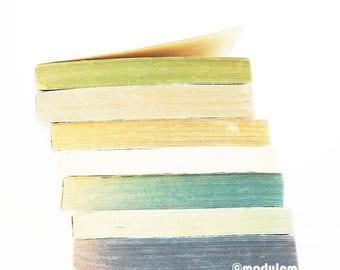 An afternoon in London - fine art print, blue, teal, golden beige, stripes, white, urban minimalist, book tower, 8x8, 8x10
