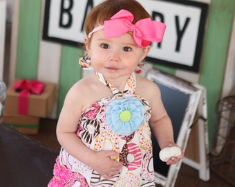 For the Love of Donuts Baby Bubble with Detachable Blue Flower & Halter Back