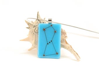 Orion, the Hunter constellation, turquoise blue fused glass necklace, science jewelry, astronomy, astronomical gift for her, light blue