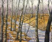 Original Impressionist style Impasto oil painting 24x30 'Snowy Trail'