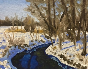 "Original Impressionist Oil Painting by Michigan Artist 8x10 ""January Clear"""