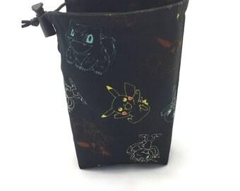 Pokémon outlines, Dice Bag, Draw String Bag, Free Standing, Revisable, Gamer Bag, D&D Dice Bag, Makeup Bag, Small Gift Bag, Pouch, RTS
