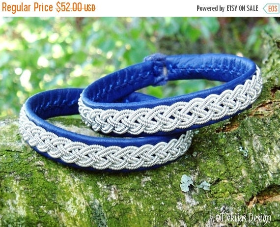 Custom Handmade Sami Bracelet in Blue Reindeer Leather ASGARD Swedish Lapland Bracelet with Pewter Braid and Antler Button - Tribal Elegance