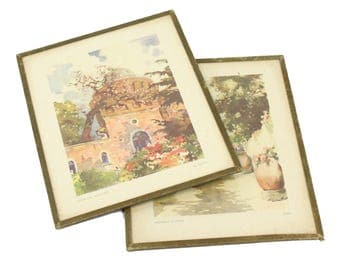 Pair of Vintage Italian Art Prints - The Vatican Observatory and The Town of Capri