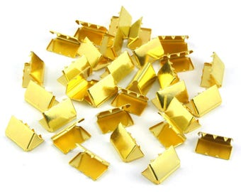300 Pieces 13*9mm Gold Flat Ribbon Clamp End Crimp [1/2 inch]  (J-EC13)
