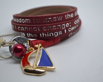 Humanity Leather Wrap Serenity Prayer Bracelet Red with Sailboat Charm Message Goodworks Nautical