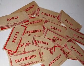 6 1940's red canning jar labels color paper ephemera art scrapbook supplies Vintage advertising label scrap lot