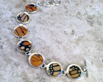 Monarch Butterfly Wing Sterling Silver Bracelet - Adjustable, Accessory, Natural, Colorful, Earth, Rings