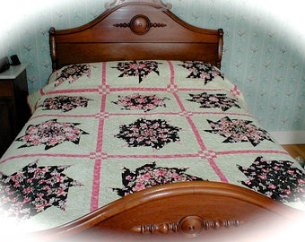 Quilted Stack -n- Whack Quilt Kaleidoscope of Colors Green, Black, Pink Double Bed Size Quilt
