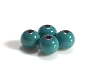 Sea Green Enameled Copper Beads, Torch Fired Enameled, Vitreous, 6.5mm, 6pcs
