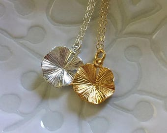 Lilypad  Necklace  -Lily Pad Necklace in Sterling Silver or Gold Fill