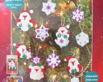 Santa's Snowflake Felt Christmas Ornaments Kit, Janlynn 090-0056,  20 Felt and Sequin Ornaments, Santa Ornaments, Snowflake Ornaments