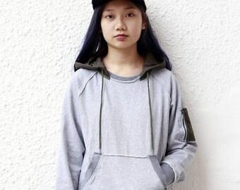 Quilted Hooded MA-1 Pocket Sweatshirt (Grey)