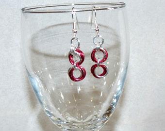 Red Rosebud Chainmaille Earrings