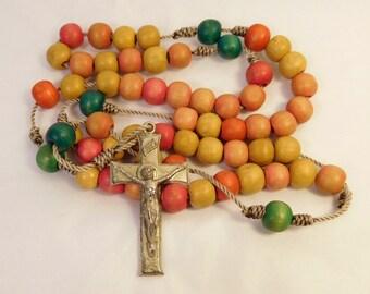 Vintage Wood ROSARY - Multi-Color Prayer Beads - Religious Catholic Jewelry