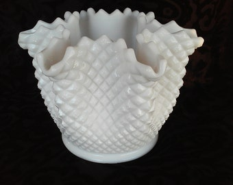 Vintage English Hobnail Milk Glass Short Vase with Ruffled Edge by Westmoreland