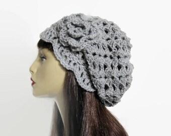 Light Gray Slouchy Hat with Flower Gray Knit Beanie Silver Crochet Hat Silver Cap Women Slouchy Tam Gray Slouchy Beanie gray oversize beanie
