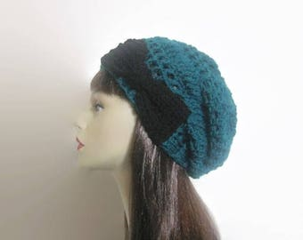 Teal Knit Beanie with Bow Crochet Teal Hat Slouchy Turquoise Hat Turquoise Slouchy knit Beanie Blue Slouchy Cap Slouchy Womens Hat blue hat