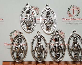 6 pcs 36x20mm cut out Miraculous Charm Antique Silver Lead free Pewter