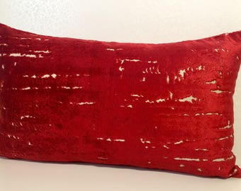BRIGHT RED accent LUMBER cushion cover in blood red velvet and linen pillow cover from MoGirl Designs