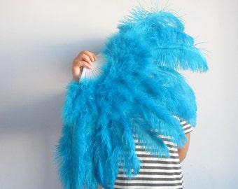 80*45cm Large   Burlesque Dance  feather fan Bridal Bouquet turquoise,Royal Blue,white,red,black