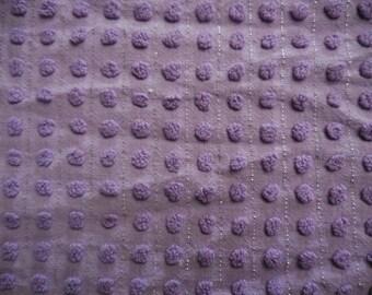 "Morgan Jones LILAC Purple Pops and Silver Lurex Vintage Chenille Bedspread Fabric - 24"" X 24"""
