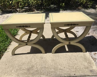 X RATED / Pair Of French Charles X Benches / Tables / Gold Metal Detailing / Hollywood Regency