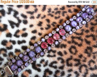 Christmas Sale Purple Pink Rhinestone Bracelet 1950's Collectible Jewelry Chunky Wide Retro Rockabilly Mad Men Mod Hollywood Regency