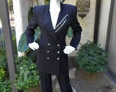 Vintage 1980's Criscone Black Evening Jacket with Rhinestone Accents - Size Small
