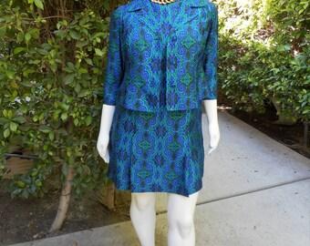 Vintage 1960's Blue & Green Print Dress and Jacket Set - Size 20