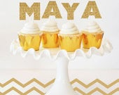 Cake Topper Topper Cupcake Toppers Birthday Topper Birthday Decoration Gold Glitter Personalized Name Cake Topper Or Custom Letter Toppers